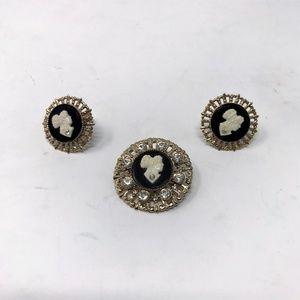 Vintage Black & White Cameo Brooch & Earrings